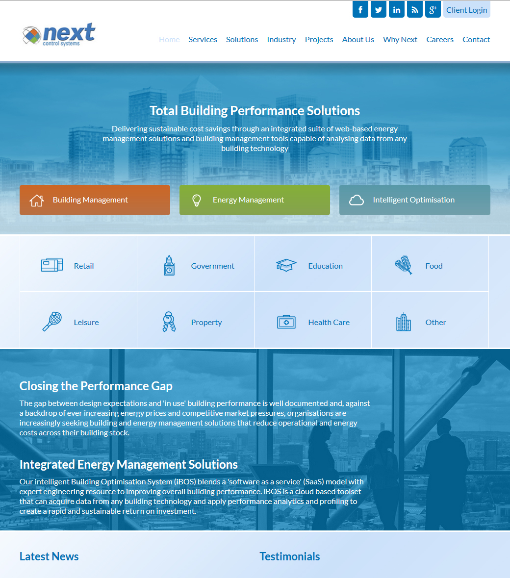 Next Intelligent Building Optimisation responsive design website