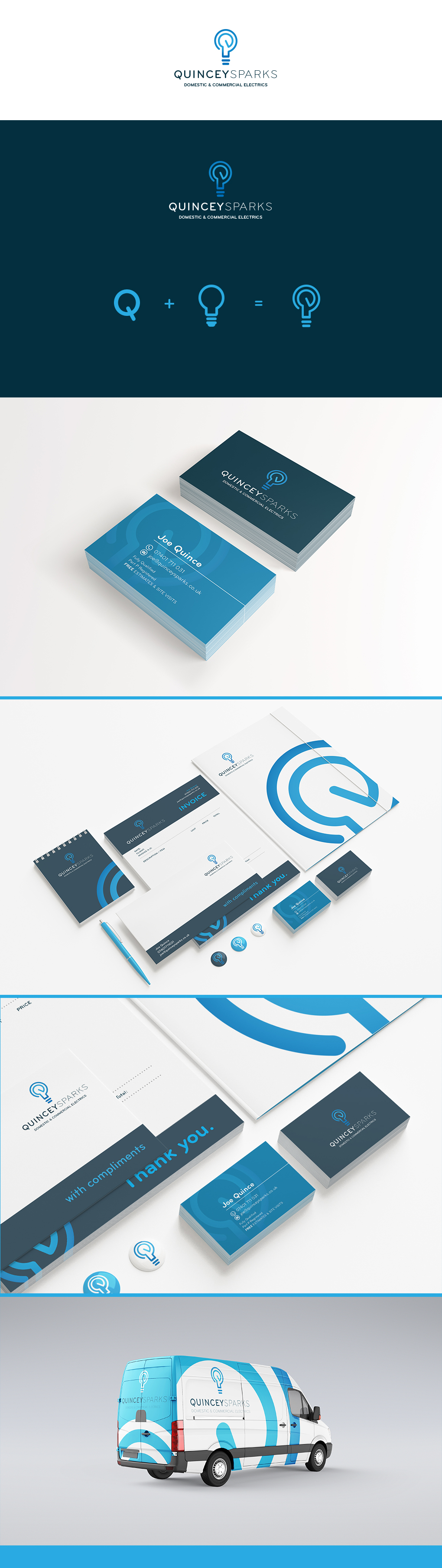 Quincey Sparks Logos, Stationery and Vehicle Branding