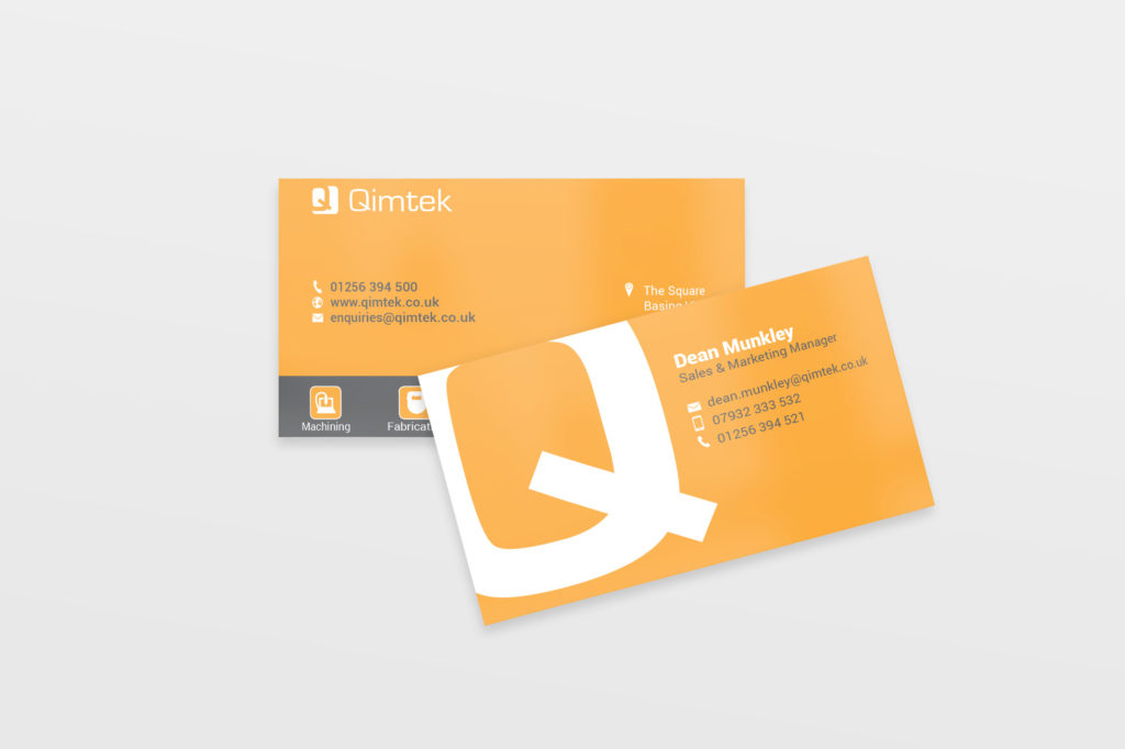 design and print of business cards for Qimtek